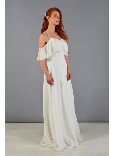 Carmen Askılı Uzun Nikah Dış Çekim Elbisesi Ekru
